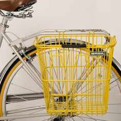 Basil Rear Milk Bottles Bicycle Basket in Yellow | Cyclechic | Cyclechic