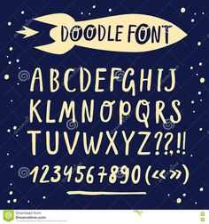 Brush Hand Drawn Vector Font With Cartoon Rocket Stock Vector - Image: 72288818