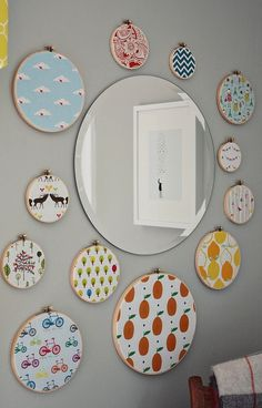 Style Mood Board: Living in Style: Nursery Decoration * cute fabrics in embroidery hoops