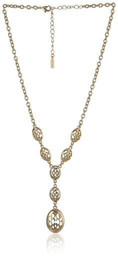 1928 Jewelry 'Social Essentials' Filigree Y-Shaped Necklace, 16' ** To view further for this item, visit the image link.