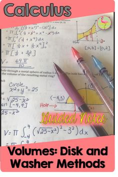 Get everything you need to teach Volumes by Disk and Washer Methods right here! Ready to print and teach. You will find guided notes, homework, SMART Board slides and a daily content quiz to prepare your AP Calculus students. Calculus Notes, Ap Calculus, Math Games For Kids, Fun Math Activities, School Resources, Math Resources, Teaching Math, Maths, Smart Board Lessons