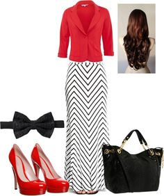 Adore those red shoes!  The top color isn't the correct shade to pull this outfit off, and I'd ditch the hairbow.
