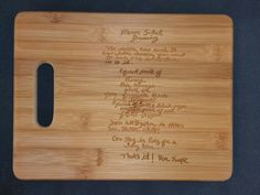 Custom engraved cutting board for Tania from 3DCarving on Etsy