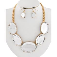 """Silver Necklace Set Gold Tone / Clear Acrylic / Lead&nickel Compliant / Fish Hook (earrings) / Necklace & Earring Set LENGTH : 17"""" + EXT •   EARRING : 1 1/8"""" •   DROP : 1 1/2""""  •   GOLD/CLEAR R.E.A.L Jewelry Jewelry Necklaces"""