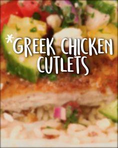 Greek Chicken Cutlets -Tasty - Food Videos And Recipes Chicken Cutlet Recipes, Cutlets Recipes, Leftover Chicken Recipes, Chicken Cutlets, Greek Potatoes, Cooking Recipes, Healthy Recipes, Greek Chicken, Greek Recipes