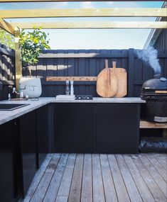 Outdoor Kitchen Bars, Black Cabinets, Plank, Beach House, Concrete, Pergola, Cottage, Patio, Summer Houses