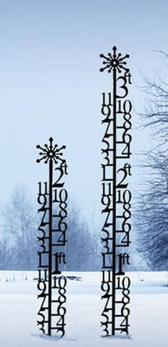 Wrought Iron 2 ft Snowflake Snow Gauge - Find at Wrought Iron Haven products such as snow gauge, snow measure, snowfall gauge, snow flake, metal snow gauge.