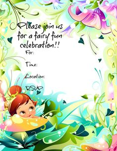 Free Printable Fairy invitations.  #freeprintables #fairyparty