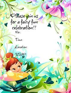 Free Printable Fairy invitations.  #freeprintables #fairyparty
