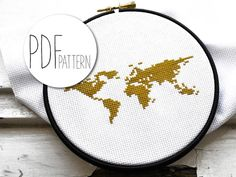 Looking for your next project? You're going to love Modern cross stitch pattern WORLD MAP by designer Hallodribums.