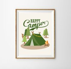 Happy Camper Print for a Little Boy's Nursery/Bedroom - Nature Nursery - Camping Nursery - Instant Download Wall Art - Print at Home