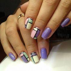 Ideas fails art geometric color blocking for 2019 Short Nail Designs, Nail Art Designs, Trendy Nails, Cute Nails, Hair And Nails, My Nails, Jolie Nail Art, Color Block Nails, Nail Drawing