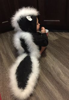 DIY Baby Halloween Costume Toddler costume last minute easy simple skunk from real clothes and a hoodie Diy Baby Halloween Costumes, Halloween Parties, Halloween Couples, Family Costumes, Zombie Costumes, Halloween Makeup, Children Costumes, Cheap Halloween, Diy Halloween Costumes