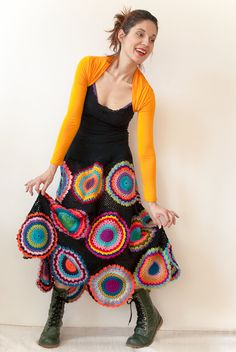 subrosa123 on Etsy | Long Gypsy Circle Skirt | No pattern. Finished garment only. #crochet #grannysquare