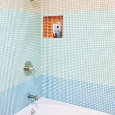 Color Blocked Bathroom! Our client used our solid colored Brio glass mosaic tile to Mod up a 1960's bathroom in his Laurel Canyon home in LA. Mid Century Cool on a budget. We can help. https://www.modwalls.com/shop/brio-mosaic-tile/brio-color.html