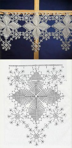 Lovely snowflake filet Crochet Edging with Diagram makes a great valance for your windows. Filet Crochet, Crochet Lace Edging, Crochet Borders, Crochet Diagram, Crochet Art, Crochet Squares, Crochet Home, Thread Crochet, Irish Crochet