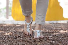 White Leather Sandals White Sandals Boho Chic Sandals by BangiShop
