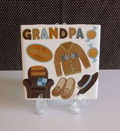 Grandpa's Gift Ceramic Table Coaster by DaisyDoodleTileShop, $6.00