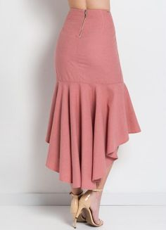 Saia Midi de Linho Rosa Colcci Korean Girl Fashion, African Fashion, Womens Fashion, Hijab Fashion, Fashion Dresses, Contemporary Fashion, Skirt Outfits, Dress Patterns, Designer Dresses