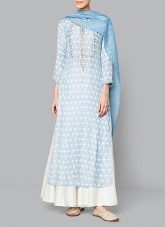 Anita Dongre | Powder Blue Antarva Suit | Shop Salwars at strandofsilk.com