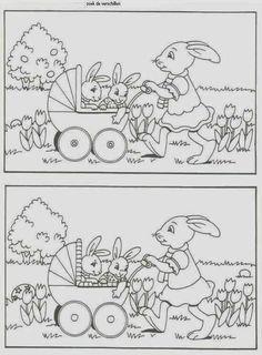 Find the differences Kids Learning Activities, Easter Activities, Kindergarten Worksheets, Worksheets For Kids, Easter Colouring, Colouring Pages, Coloring For Kids, Hidden Pictures, Pre School