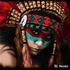 American Indian Girl, Native American Girls, Native American Pictures, Native American Beauty, Native American Face Paint, Native American Tattoos, Native American Artwork, Indian Women Tattoo, Aztec Drawing