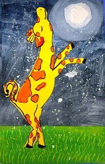 """Read """"Giraffes Can't Dance"""" book first before the art project. Giraffes Cant Dance, Animal Art Projects, 2nd Grade Art, School Art Projects, Art Lessons Elementary, Dance Art, Art Lesson Plans, Art Classroom, Art Plastique"""