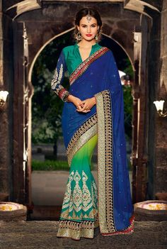 Z Fashion Trend: BLUE GREEN DESIGNER PARTY WEAR SAREE