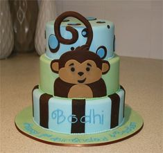 pictures of brown and green monkey cakes   ... Cakes and Invitations - Birthday Cakes- boys monkey blue green brown