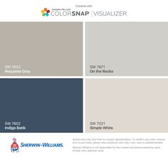 I found these colors with ColorSnap® Visualizer for iPhone by Sherwin-Williams: Requisite Gray (SW 7023), Indigo Batik (SW 7602), On the Rocks (SW 7671), Simple White (SW 7021).