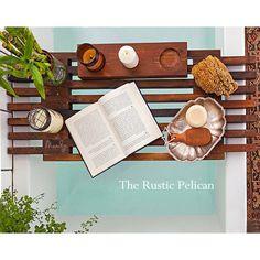 Bathtub Shelf, Rustic Bath Tray, Vintage Tub Tray, Claw Foot Bath Tray... (215 BGN) via Polyvore featuring home, bed & bath, bath and bath accessories