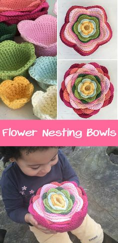 These Flower Nesting Bowls are fun to make and fun to play with! Crochet Ripple, Quick Crochet, Crochet Motif, Crochet Yarn, Crochet Edgings, Crochet Shawl, Crochet Basket Pattern, Crochet Flower Patterns, Crochet Flowers