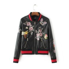 2016 hot Europe Winter flower bees butterfly embroidery PU leather jacket women 2016 fashion print slim baesball basic coat