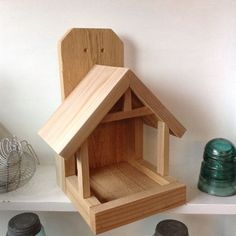 Cedar Wood Bird House - Mothers Day - Robin Nest Box - Garden Decor - Cedar Wood Nest Box - Primitive Birdhouse - Robin Bird House Nest Box