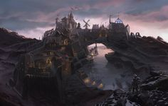 Photo wallpaper bridge, the city, river, rocks, people, Bay, fortress, Skyrim, concept art, The Elder Scrolls V, ...