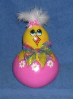 HandPainted Gourd Easter Baby Chick in Egg by llister on Etsy, $9.99--- could do this on a light bulb