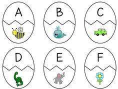 Puzzles de huevos con letras e imágenes que empiezan por esa letra