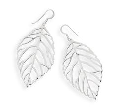 Sterling Silver Cut Out Leaf French Wire Earrings | SilverStones