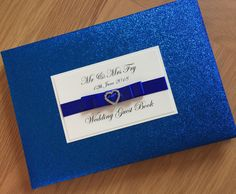 Royal Blue Personalised wedding guest book, Glitter Guest Book, Bridal Journal, Wedding Stationery, Cobalt, Sparkle, Embellishment, by specialmomentboutiq on Etsy https://www.etsy.com/listing/539699875/royal-blue-personalised-wedding-guest