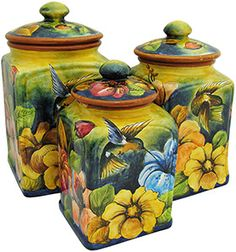 Majolica pottery originated in the century and is primarily distinguished… Mexican Furniture, Rustic Furniture, Talavera Pottery, Pottery Art, Mexican Style Decor, Mexican Artwork, Kitchen Canisters, Hand Painted Ceramics, Folk Art