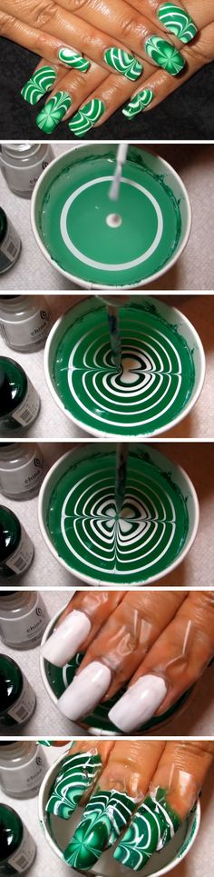 Water Marble Shamrocks | 19 Easy St Patricks Day Nail Designs | Easy Nail Art for Beginners Step by Step