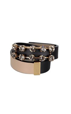 Crystal embroidery double leather bracelet MARNI