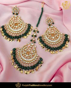 featured:- Emerald Pippal Patti kundan Earrings & Tika Set     Shop our latest collection at our store or visit our website today to buy..  You may also DM us OR contact us at 91 9914721111 to buy.  Image copyright 2k18 Punjabi Traditional Jewellery  WORLDWIDE SHIPPING AVAILABLE  Free Shipping in India  Cash on delivery available for India  All kinds of Debit/Credit Cards or other payment methods are accepted  #punjabi #traditional #Wedding #churra #WeddingChurra #punjabichura #bridal… Tikka Jewelry, Indian Jewelry Earrings, Jewelry Design Earrings, Ear Jewelry, India Jewelry, Pakistani Jewelry, Indian Wedding Jewelry, Bridal Jewelry, Pakistani Bridal