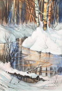 Birch Trio. photo print of a hand colored stone lithograph, 14 x 20
