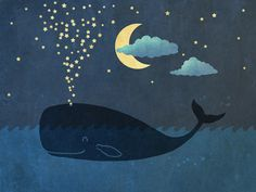 Star-maker, whale illustration by Terry Fan this would be cute In a little kids room Canvas Fabric, Canvas Art, Canvas Prints, Art Prints, Art Et Illustration, Illustrations, Terry Fan, Whale Art, Whale Canvas