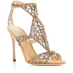 Sergio Rossi Tresor Crystal Cutout High Heel Sandals ($1,395) ❤ liked on Polyvore featuring shoes, sandals, heels, honey cream, cut out sandals, stiletto high heel shoes, heels stilettos, sparkly shoes y crystal shoes