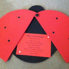 Ladybug invitations for 1 year old bday party.