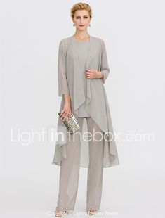 Jacket Dress, Half Sleeves, Ankle Length, Mother Of The Bride, Dresses Online, Scoop Neck, Tulle, Chiffon, Jumpsuit