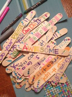 Decorated Popsicle sticks! Great for encouragement and counting laps!
