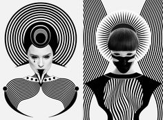 Black and White Digital Portraits  Dark Homonyms is a digital portraits series created by Nikoloz Bionika self-taught artist from Tbilisi. In black and white only portraits mix human faces geometric graphics and psychedelic patterns giving the illusion models are wearing strange and complex costumes.              #xemtvhay